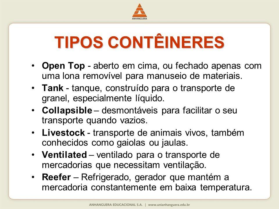 TIPOS CONTÊINERESOpen Top - aberto em cima, ou fechado apenas com uma lona removível para manuseio de materiais.