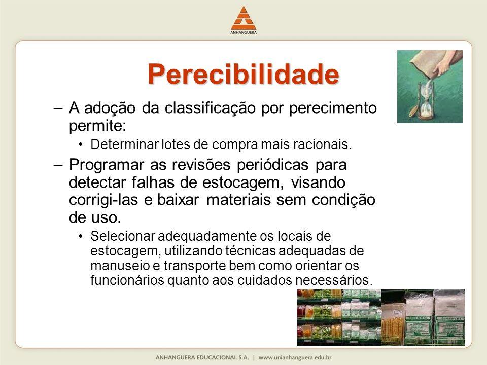 Perecibilidade A adoção da classificação por perecimento permite: