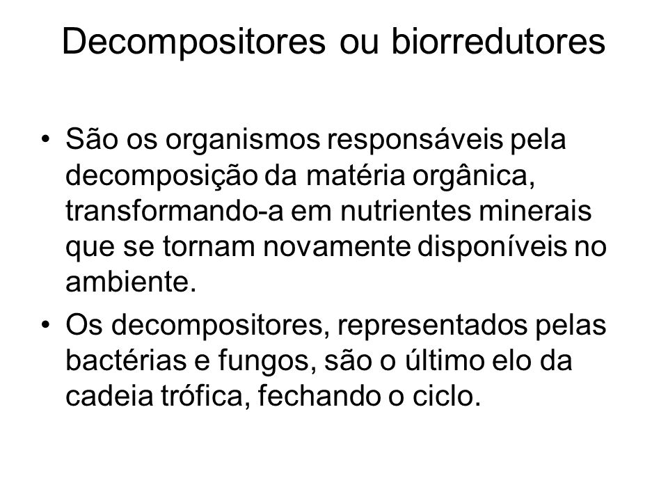 Decompositores ou biorredutores