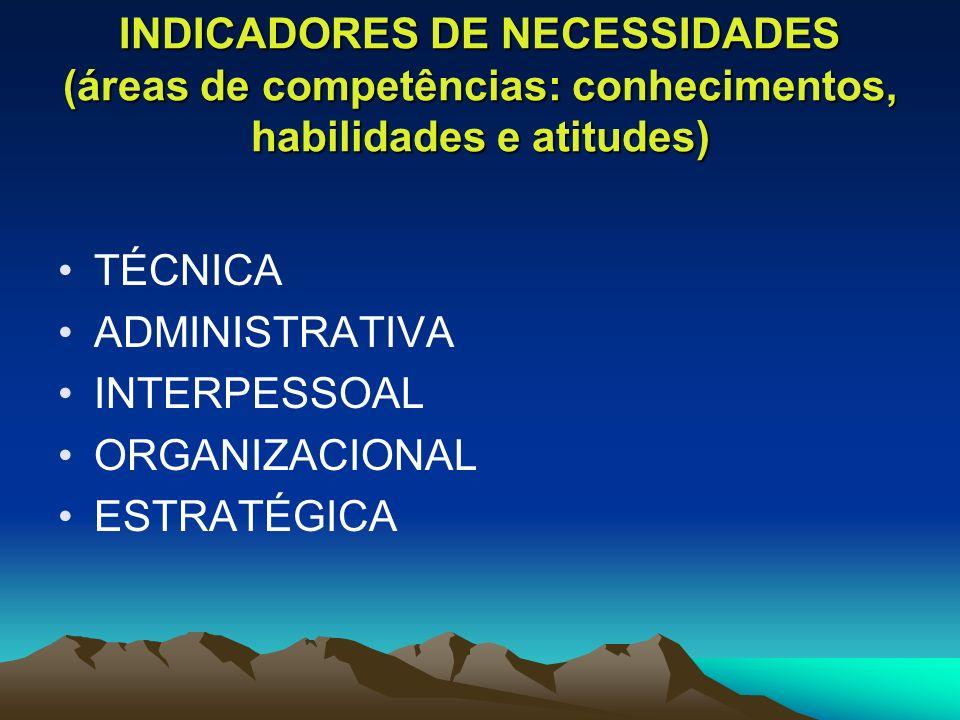 INDICADORES DE NECESSIDADES (áreas de competências: conhecimentos, habilidades e atitudes)