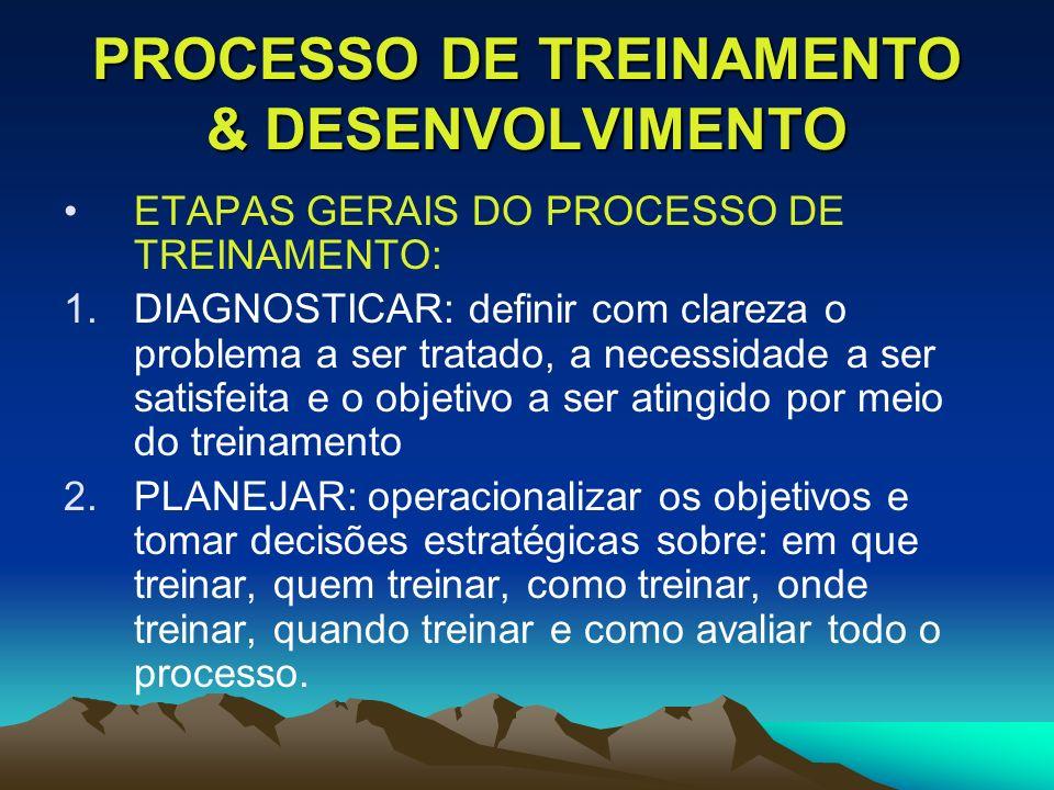 PROCESSO DE TREINAMENTO & DESENVOLVIMENTO