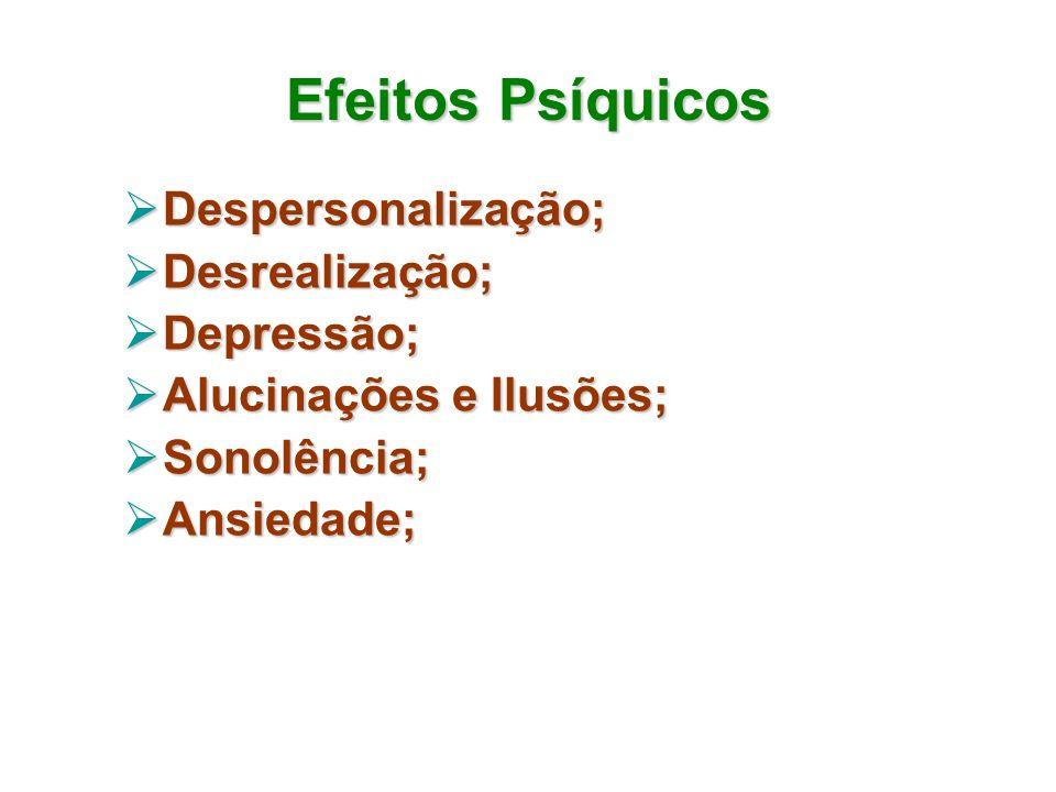 Efeitos Psíquicos Despersonalização; Desrealização; Depressão;