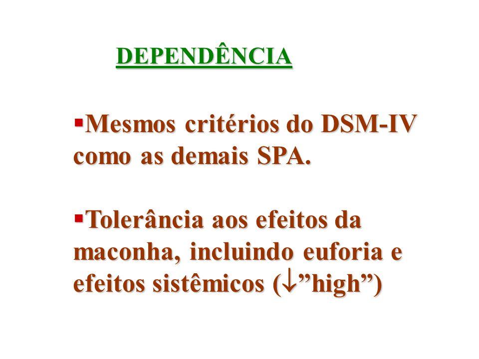 Mesmos critérios do DSM-IV como as demais SPA.