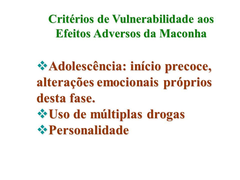 Critérios de Vulnerabilidade aos Efeitos Adversos da Maconha