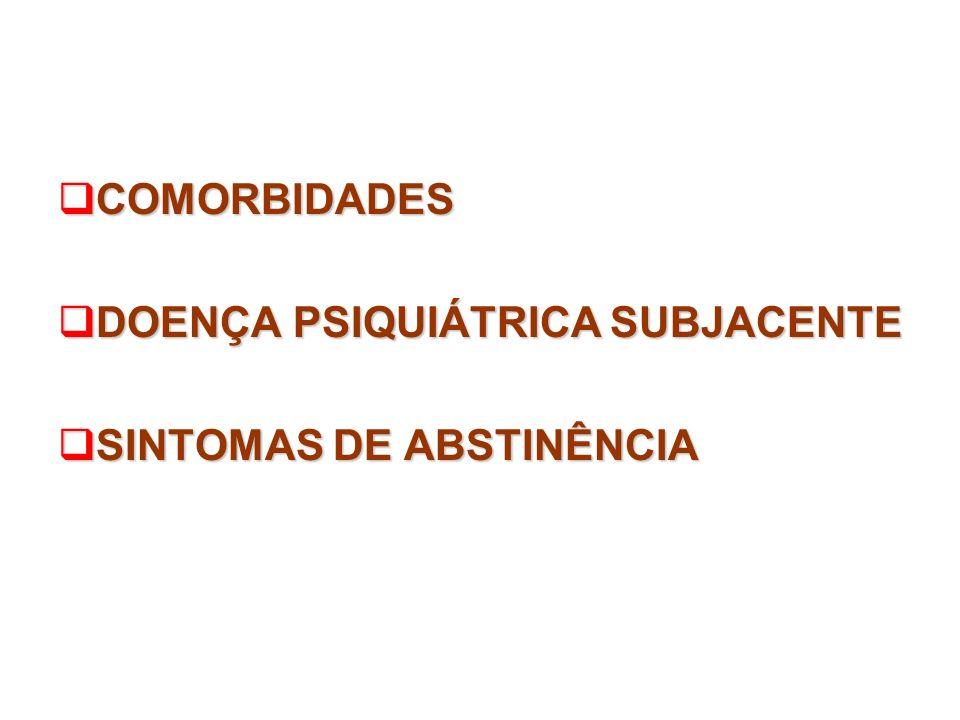 COMORBIDADES DOENÇA PSIQUIÁTRICA SUBJACENTE SINTOMAS DE ABSTINÊNCIA