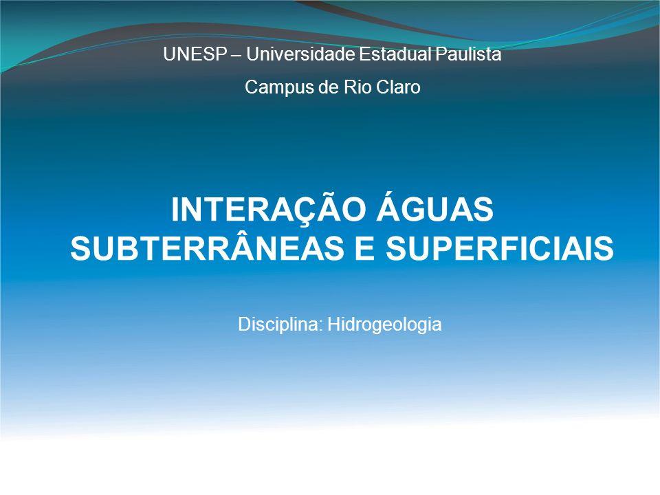INTERAÇÃO ÁGUAS SUBTERRÂNEAS E SUPERFICIAIS