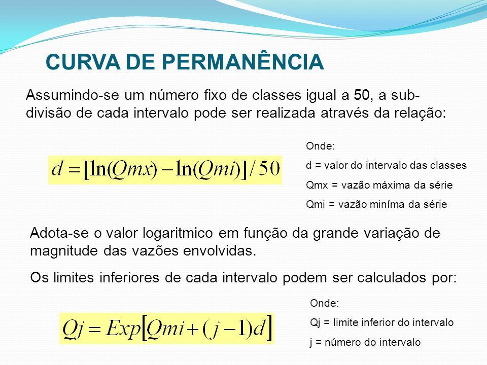 CURVA DE PERMANÊNCIA Assumindo-se um número fixo de classes igual a 50, a sub-divisão de cada intervalo pode ser realizada através da relação: