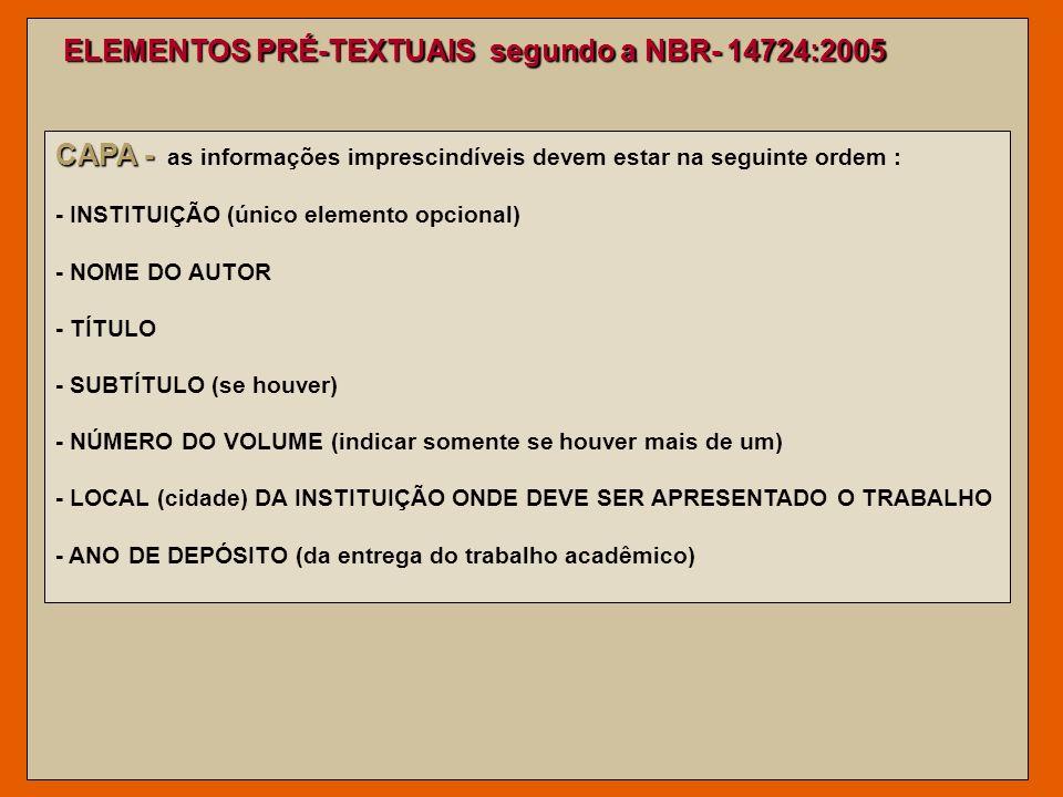 ELEMENTOS PRÉ-TEXTUAIS segundo a NBR- 14724:2005