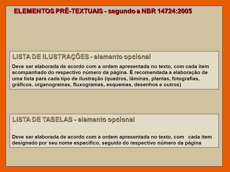 ELEMENTOS PRÉ-TEXTUAIS - segundo a NBR 14724:2005