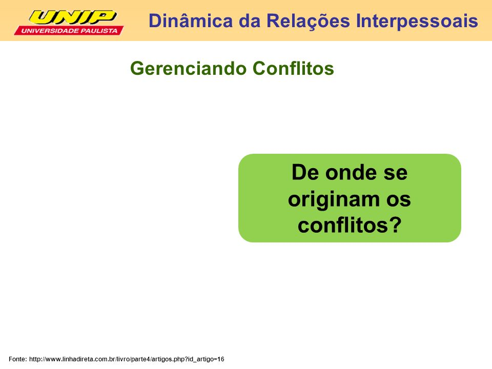 Gerenciando Conflitos De onde se originam os conflitos