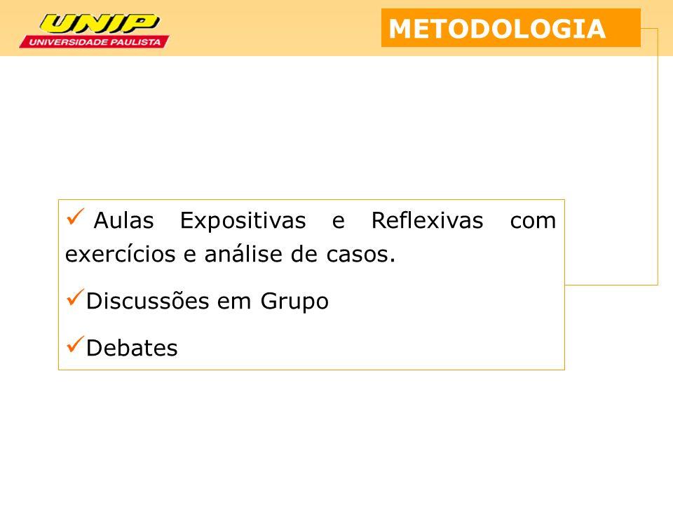 METODOLOGIA Aulas Expositivas e Reflexivas com exercícios e análise de casos. Discussões em Grupo.