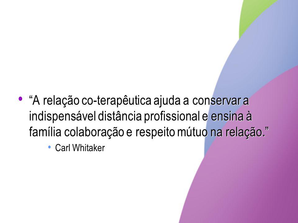 A relação co-terapêutica ajuda a conservar a indispensável distância profissional e ensina à família colaboração e respeito mútuo na relação.
