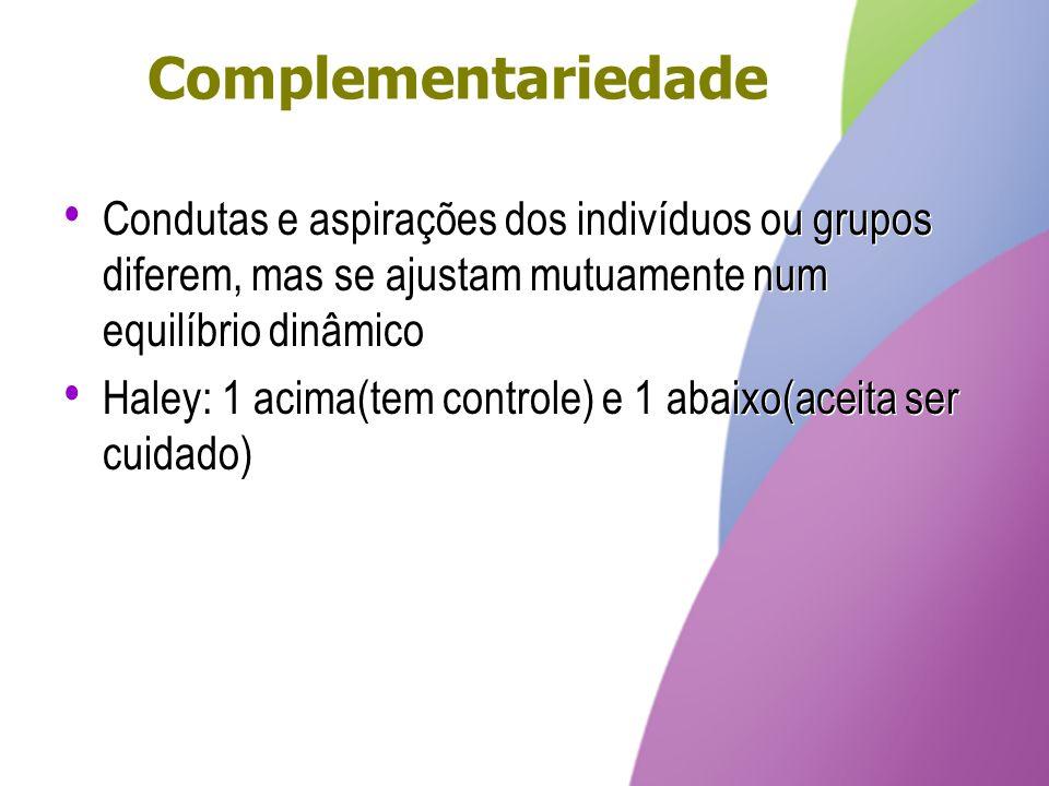 Complementariedade Condutas e aspirações dos indivíduos ou grupos diferem, mas se ajustam mutuamente num equilíbrio dinâmico.