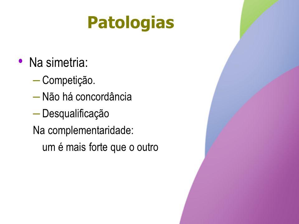 Patologias Na simetria: Competição. Não há concordância