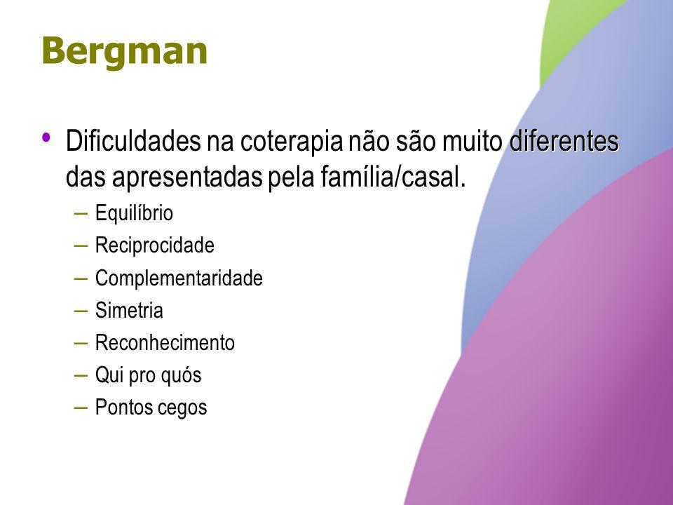 Bergman Dificuldades na coterapia não são muito diferentes das apresentadas pela família/casal. Equilíbrio.