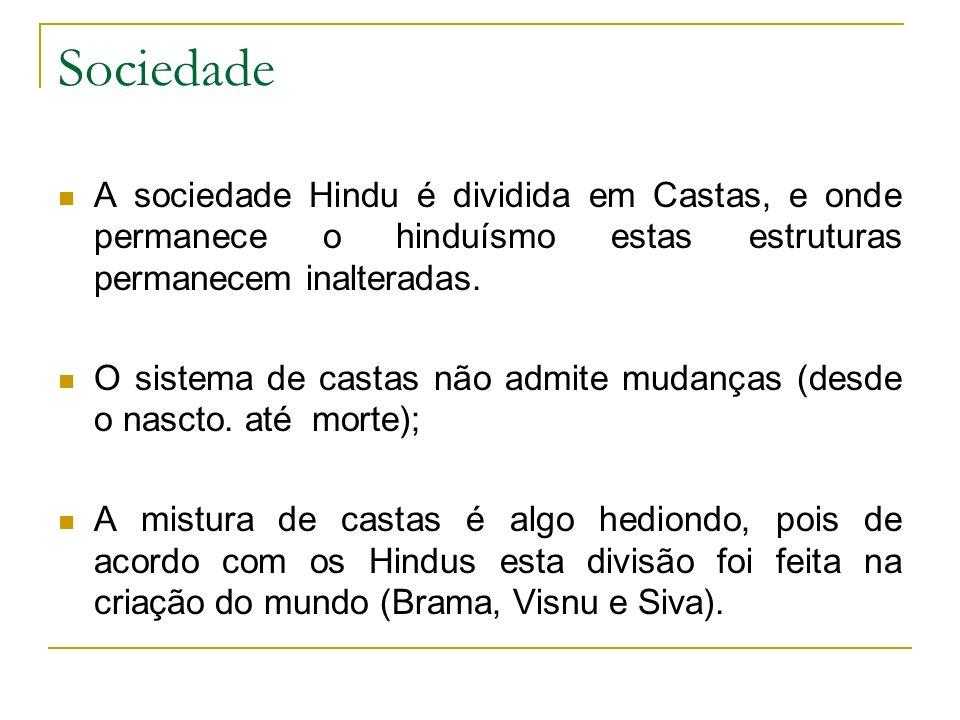 Sociedade A sociedade Hindu é dividida em Castas, e onde permanece o hinduísmo estas estruturas permanecem inalteradas.