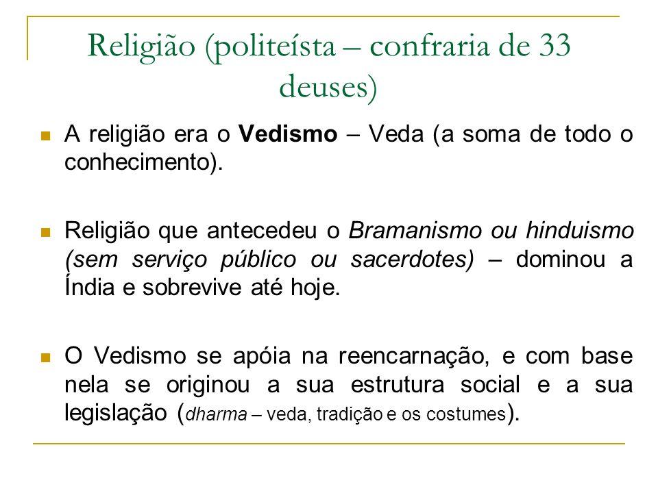 Religião (politeísta – confraria de 33 deuses)