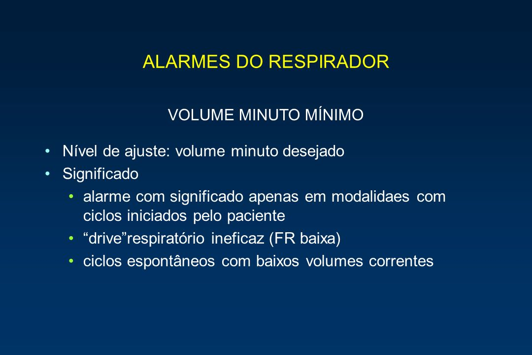 ALARMES DO RESPIRADOR VOLUME MINUTO MÍNIMO