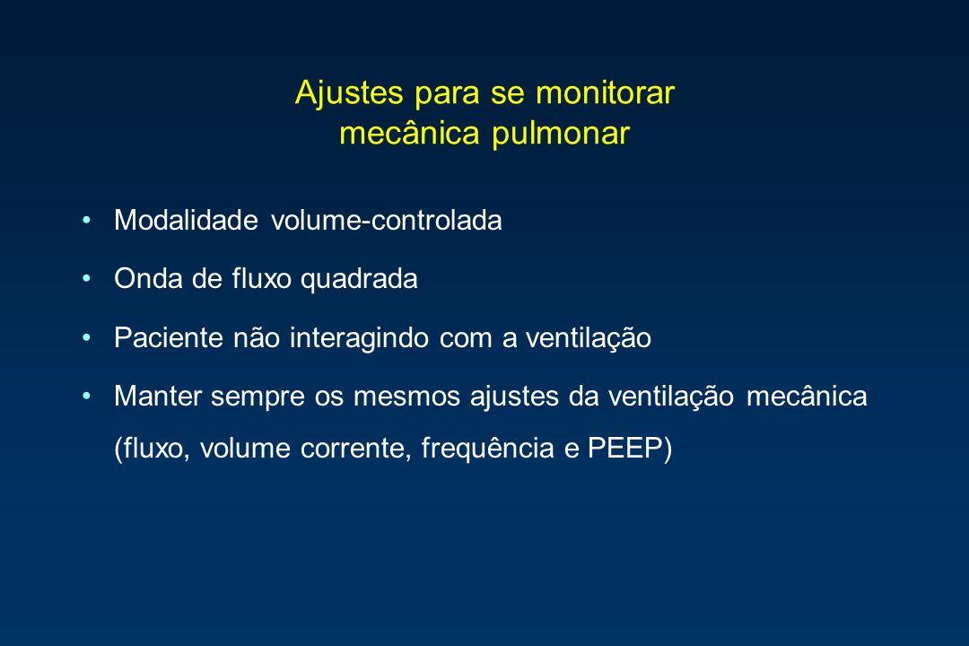 Ajustes para se monitorar mecânica pulmonar