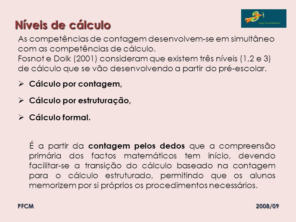 Níveis de cálculo As competências de contagem desenvolvem-se em simultâneo com as competências de cálculo.