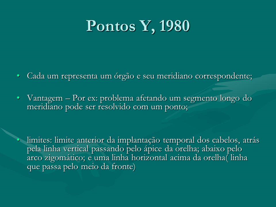Pontos Y, 1980Cada um representa um órgão e seu meridiano correspondente;