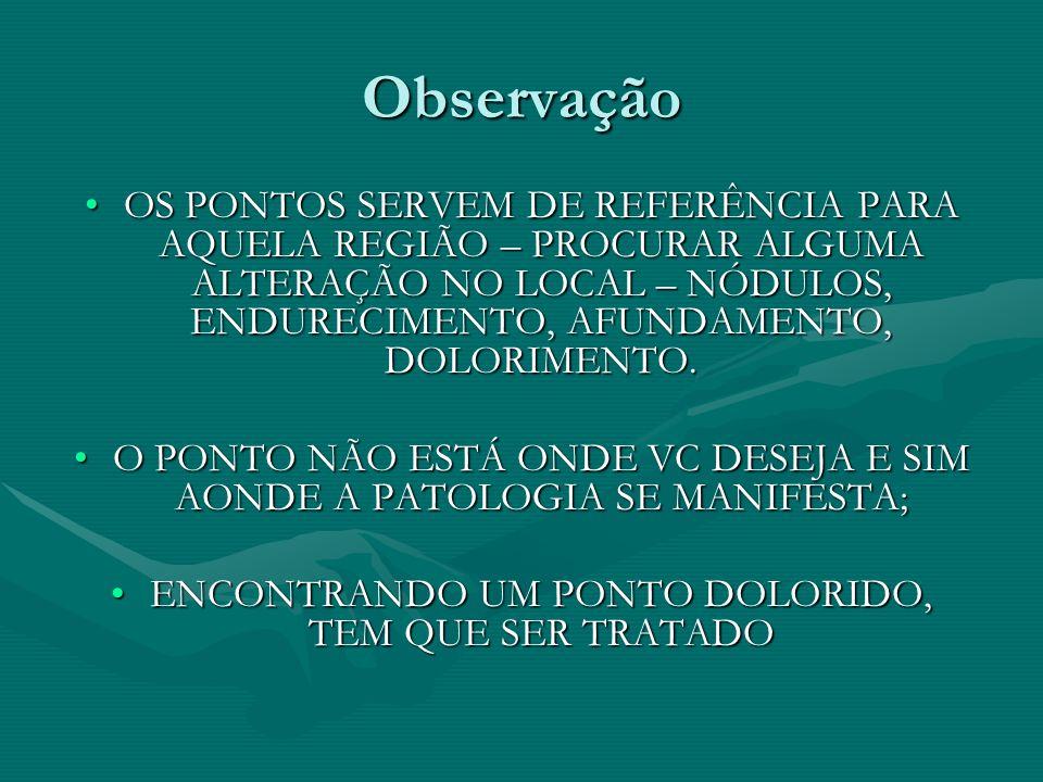 ObservaçãoOS PONTOS SERVEM DE REFERÊNCIA PARA AQUELA REGIÃO – PROCURAR ALGUMA ALTERAÇÃO NO LOCAL – NÓDULOS, ENDURECIMENTO, AFUNDAMENTO, DOLORIMENTO.
