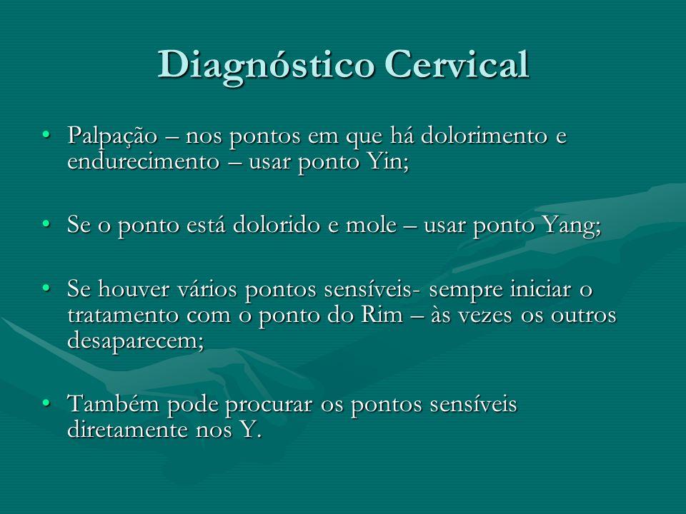 Diagnóstico CervicalPalpação – nos pontos em que há dolorimento e endurecimento – usar ponto Yin; Se o ponto está dolorido e mole – usar ponto Yang;