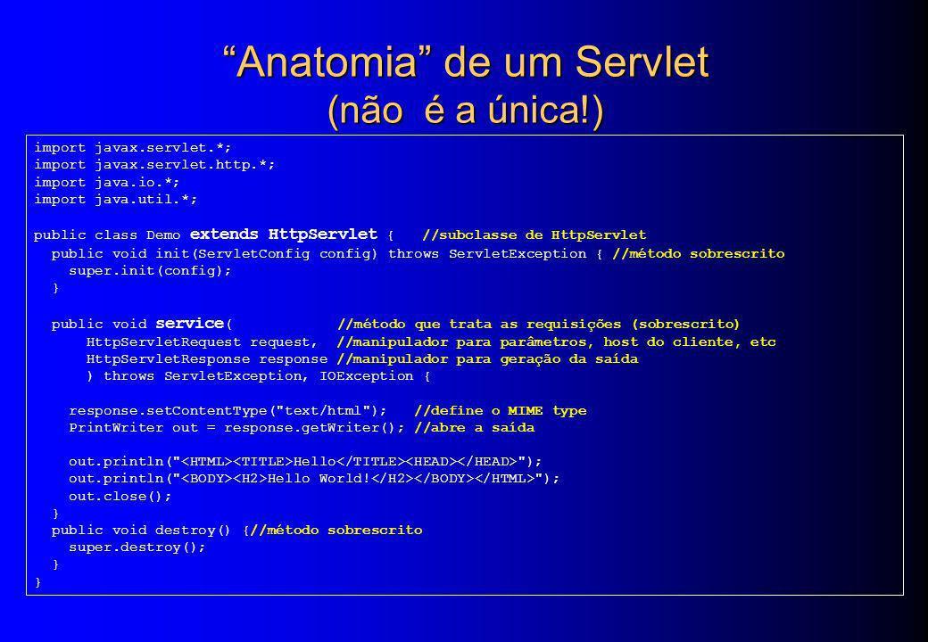 Anatomia de um Servlet (não é a única!)