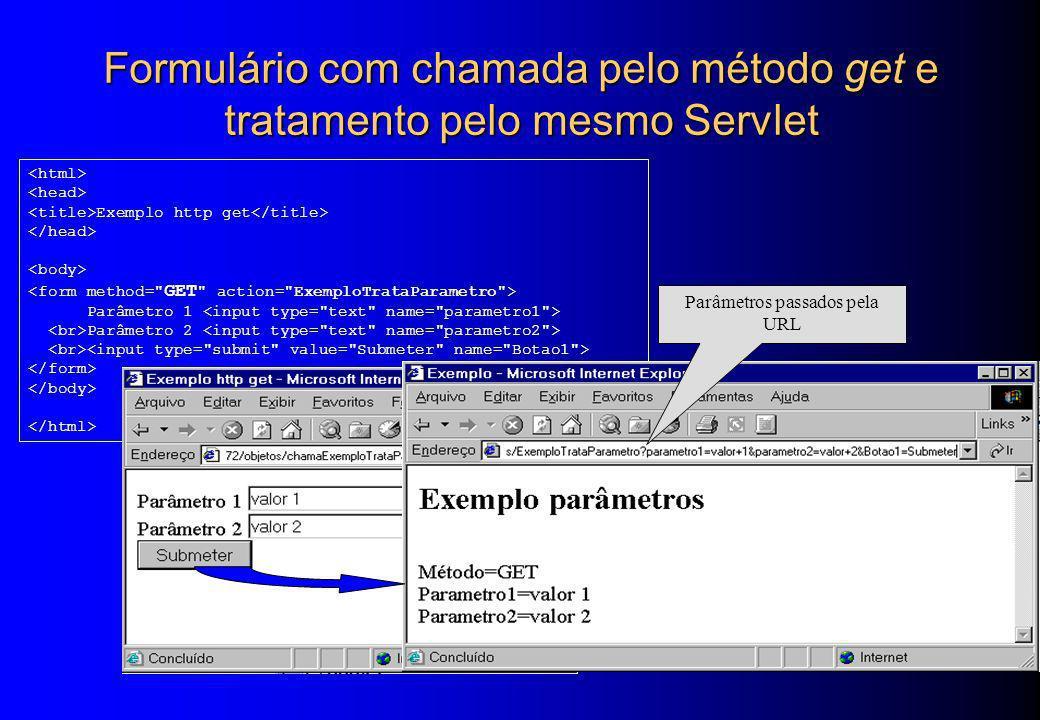 Formulário com chamada pelo método get e tratamento pelo mesmo Servlet