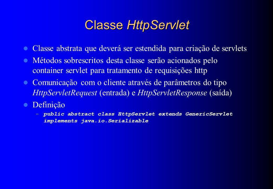 Classe HttpServlet Classe abstrata que deverá ser estendida para criação de servlets.