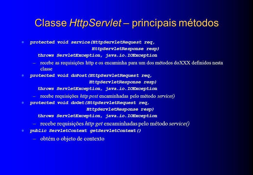 Classe HttpServlet – principais métodos