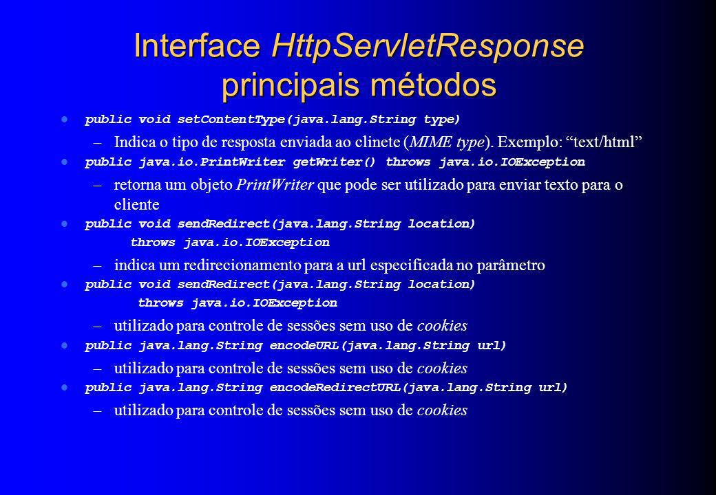 Interface HttpServletResponse principais métodos