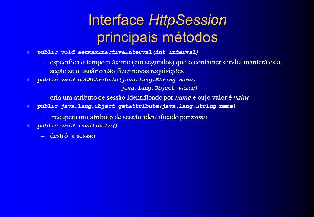 Interface HttpSession principais métodos
