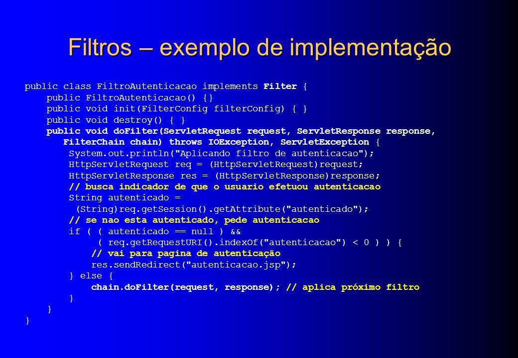 Filtros – exemplo de implementação