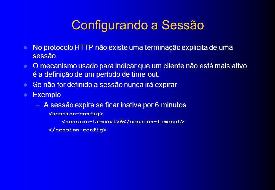 Configurando a Sessão No protocolo HTTP não existe uma terminação explicita de uma sessão.