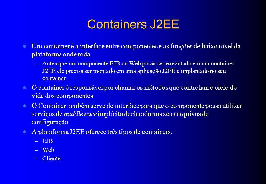 Containers J2EE Um container é a interface entre componentes e as funções de baixo nível da plataforma onde roda.