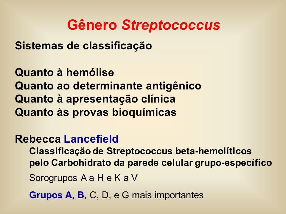 Gênero Streptococcus Sistemas de classificação Quanto à hemólise