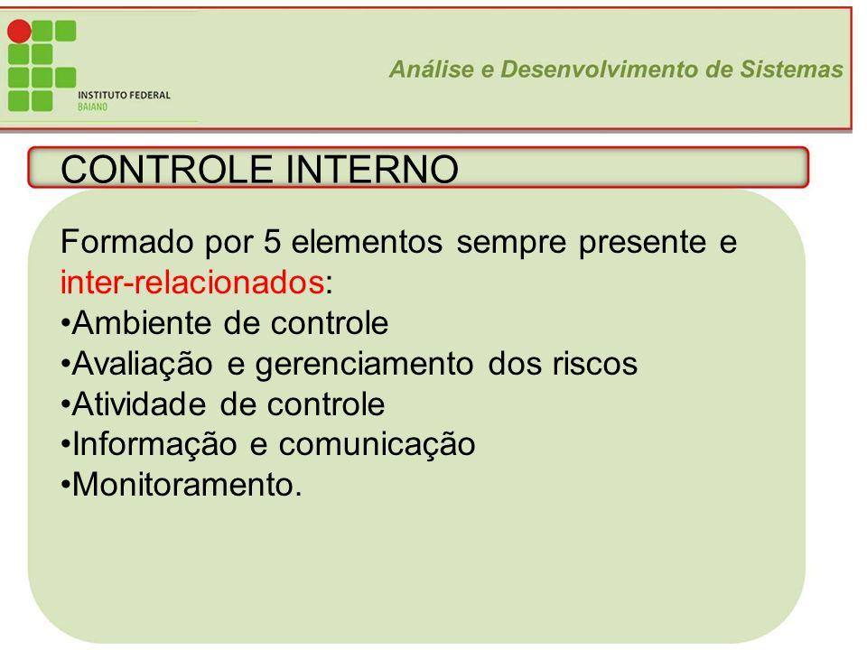 CONTROLE INTERNO Formado por 5 elementos sempre presente e inter-relacionados: Ambiente de controle.