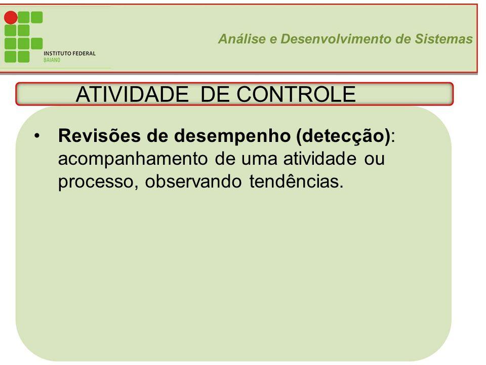 ATIVIDADE DE CONTROLE Revisões de desempenho (detecção): acompanhamento de uma atividade ou. processo, observando tendências.