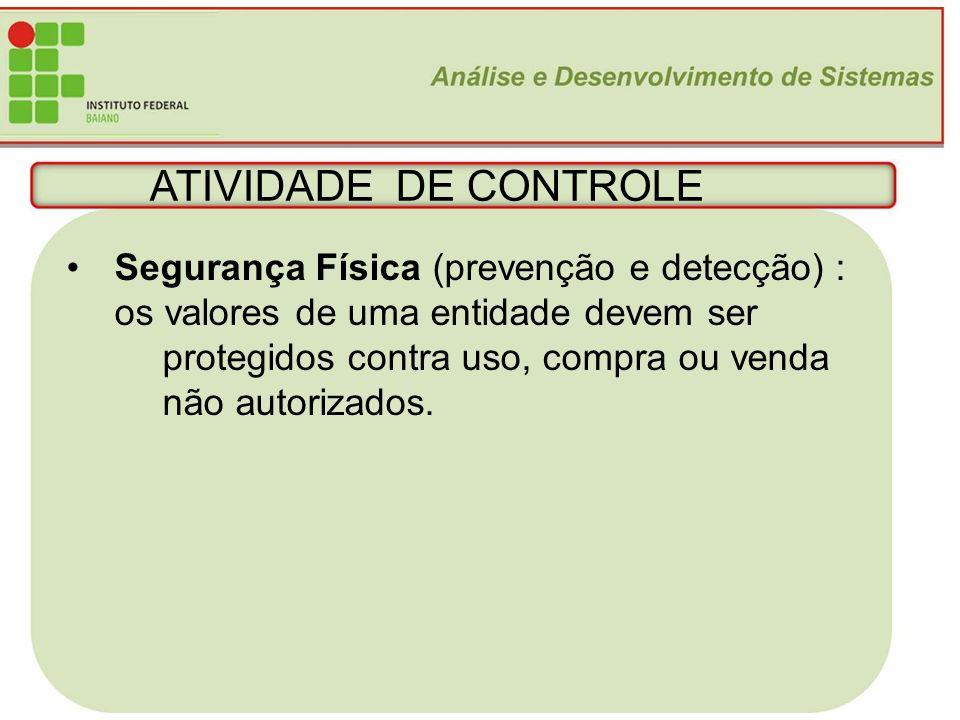 ATIVIDADE DE CONTROLE Segurança Física (prevenção e detecção) :