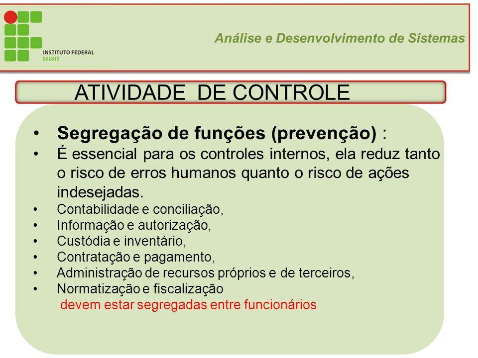 ATIVIDADE DE CONTROLE Segregação de funções (prevenção) :