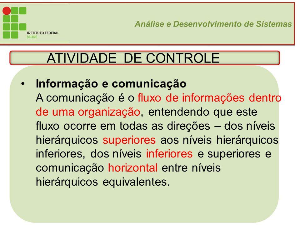 ATIVIDADE DE CONTROLE Informação e comunicação