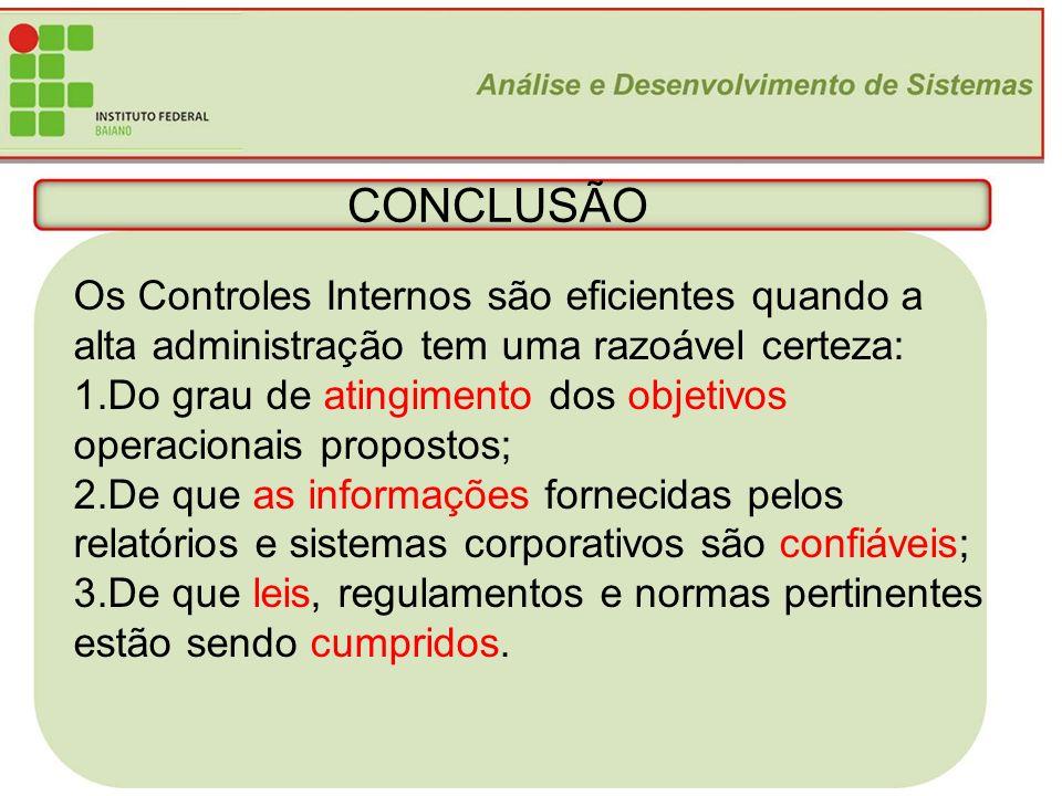 CONCLUSÃO Os Controles Internos são eficientes quando a alta administração tem uma razoável certeza: