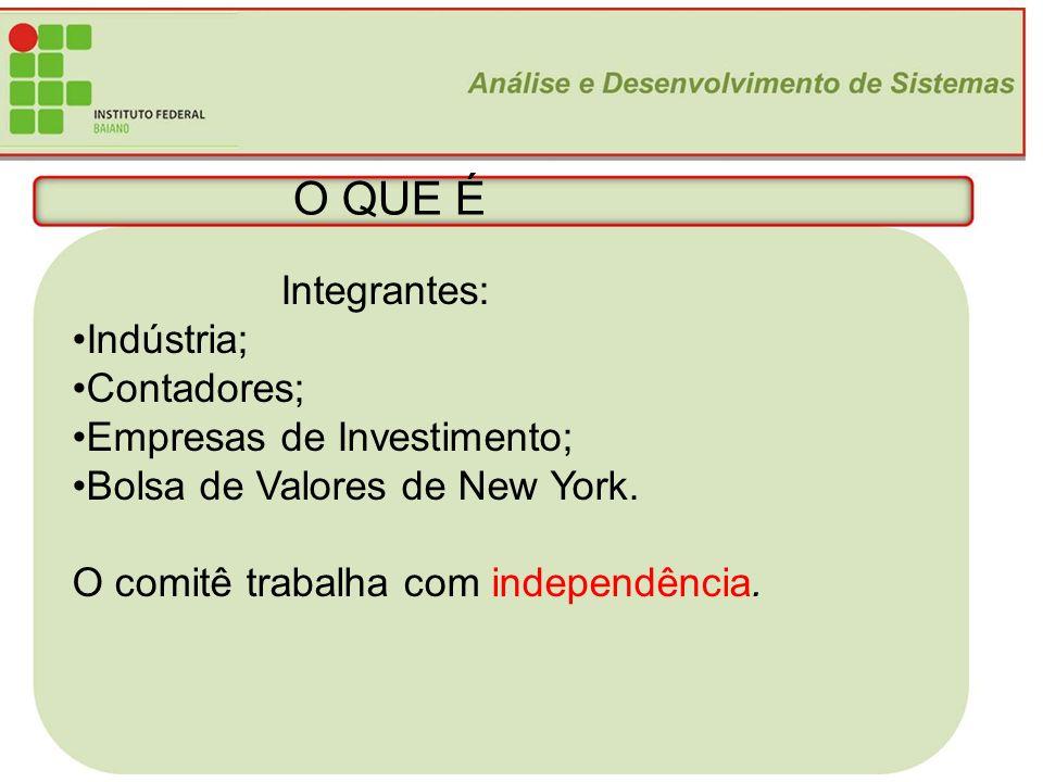 O QUE É Integrantes: Indústria; Contadores; Empresas de Investimento;