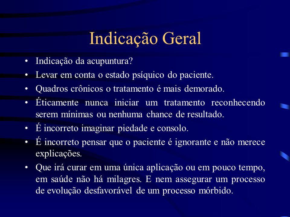 Indicação Geral Indicação da acupuntura