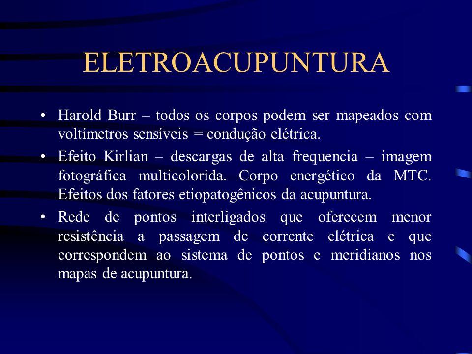 ELETROACUPUNTURA Harold Burr – todos os corpos podem ser mapeados com voltímetros sensíveis = condução elétrica.