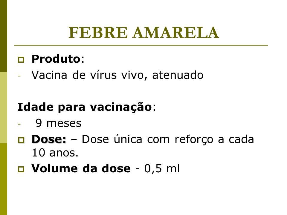 FEBRE AMARELA Produto: Vacina de vírus vivo, atenuado
