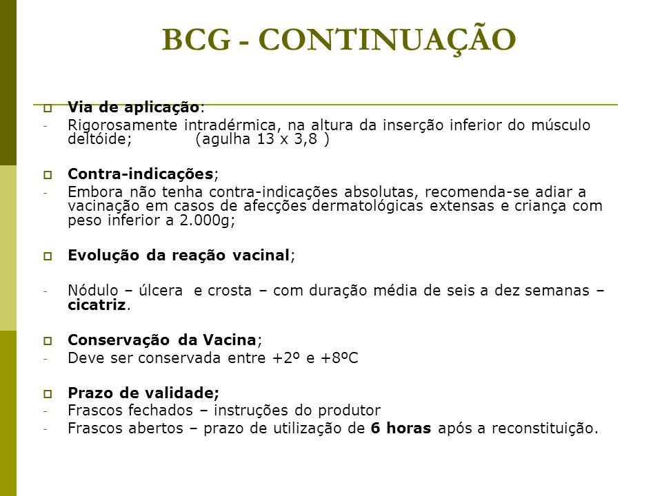 BCG - CONTINUAÇÃO Via de aplicação: