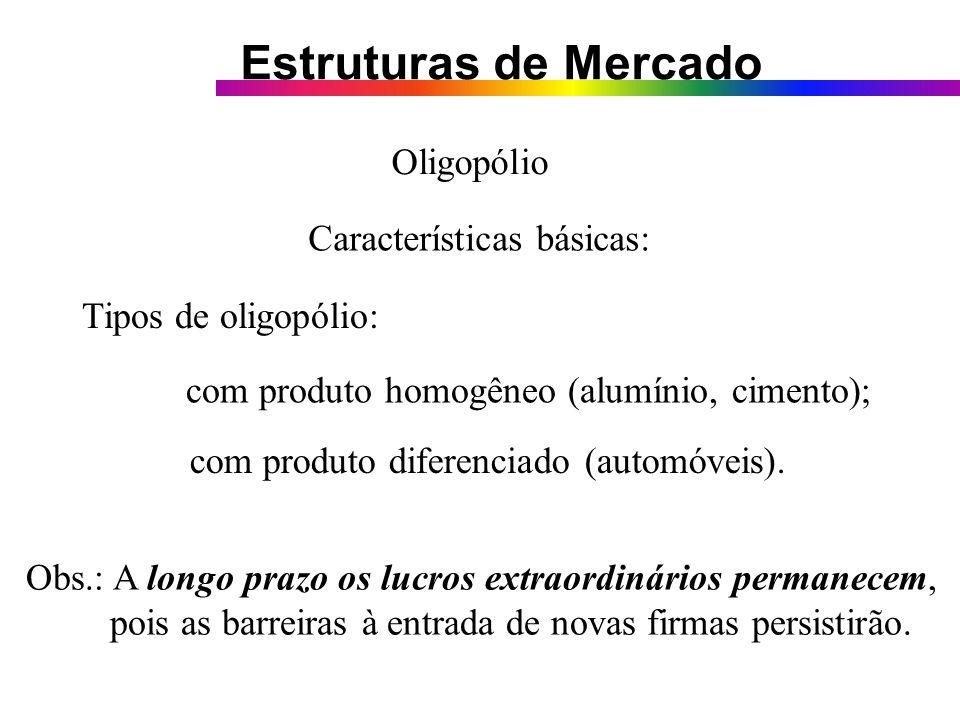 OligopólioCaracterísticas básicas: Tipos de oligopólio: com produto homogêneo (alumínio, cimento); com produto diferenciado (automóveis).