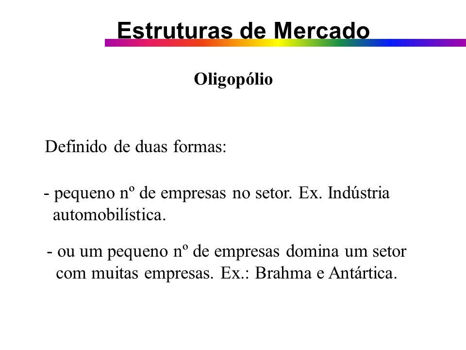 Oligopólio Definido de duas formas: - pequeno nº de empresas no setor. Ex. Indústria. automobilística.
